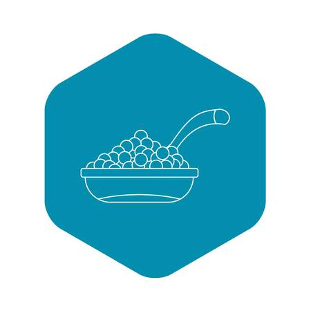 Bowl red caviar icon. Outline illustration of bowl of caviar vector icon for web Vettoriali