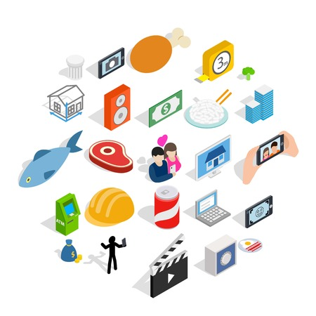 Feature icons set. Isometric set of 25 feature vector icons for web isolated on white background