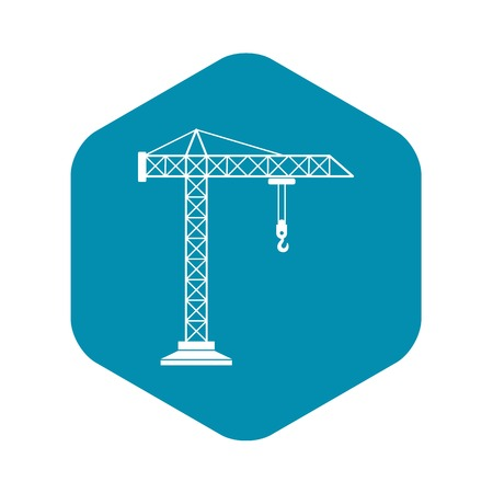 Construction crane icon in simple style isolated on white background Illustration
