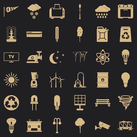 Windmill village icons set, simple style Vecteurs