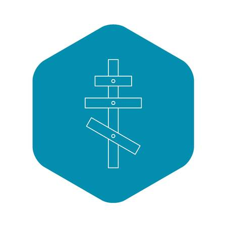 Religious orthodox cross icon, outline style