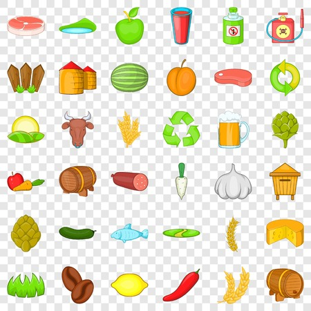 Agriculture property icons set, cartoon style