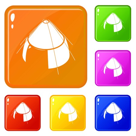 Conic tent icons set collection vector 6 color isolated on white background