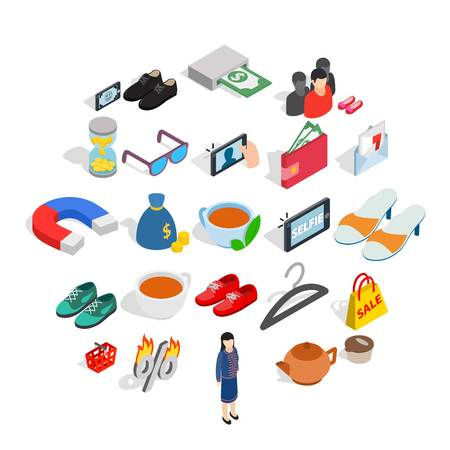 Businesswoman icons set. Isometric set of 25 businesswoman vector icons for web isolated on white background