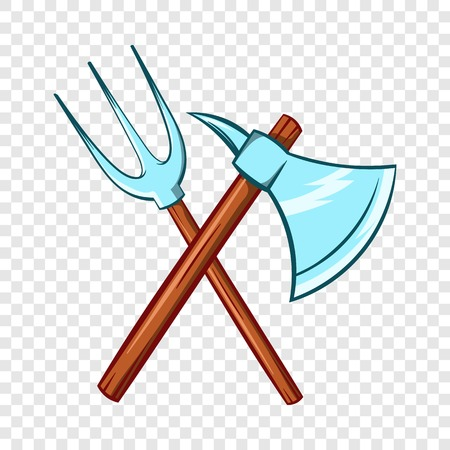 Ancient axe and trident icon, cartoon style