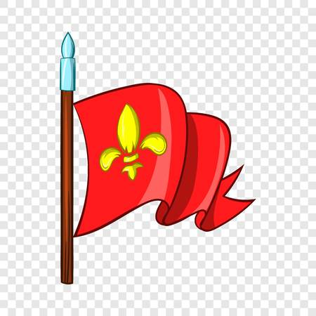 Medieval red knight flag with gold lily icon in cartoon style on a background for any web design