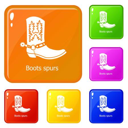 Boot spurs icons set collection vector 6 color isolated on white background Illusztráció