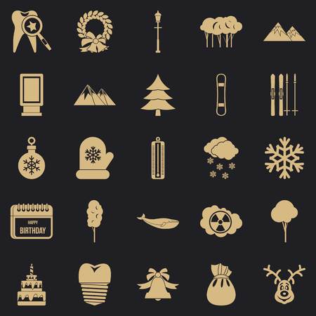 a8d44476f7b Simple set of 25 cold weather vector icons for web for