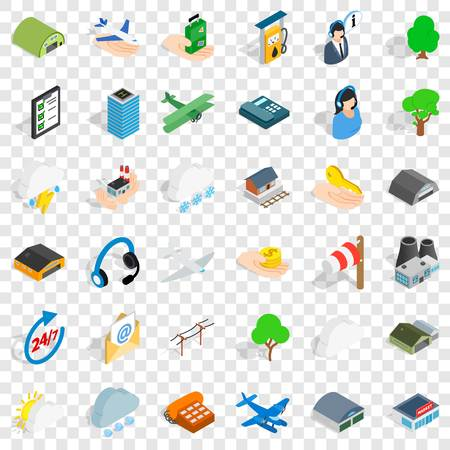 Plane terminal icons set. Isometric style of 36 plane terminal vector icons for web for any design