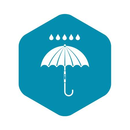 Umbrella and rain drops icon in simple style isolated on white background Ilustrace