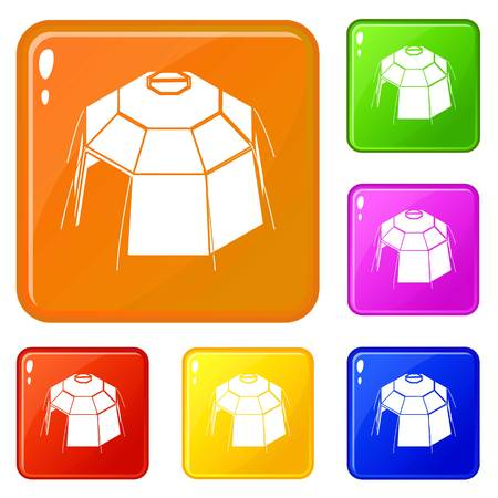 Hexagonal tent icons set collection vector 6 color isolated on white background