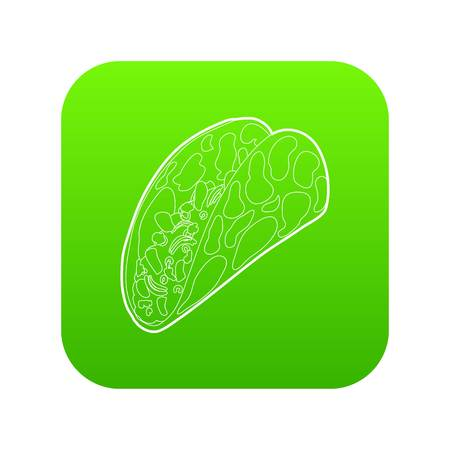 Kebab icon green vector isolated on white background Illustration