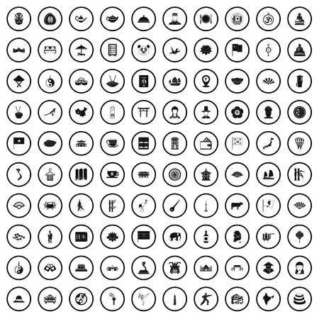 100 dish icons set in simple style for any design vector illustration 向量圖像