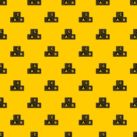 ABC cubes pattern seamless vector repeat geometric yellow for any design
