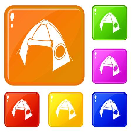 Tribal tent icons set collection vector 6 color isolated on white background