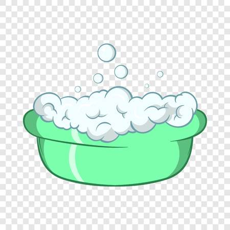 Green baby bath with foam icon in cartoon style on a background for any web design
