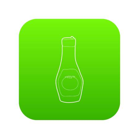Bottle of ketchup icon green vector isolated on white background Illustration