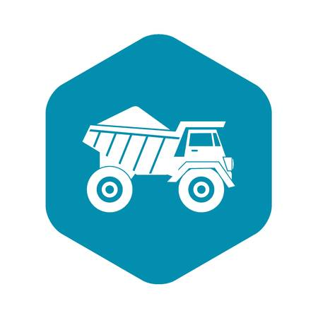 Dump truck with sand icon in simple style isolated on white background Illustration