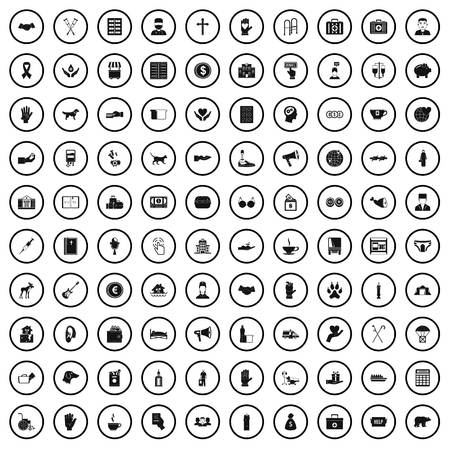 100 donation icons set in simple style for any design vector illustration  イラスト・ベクター素材