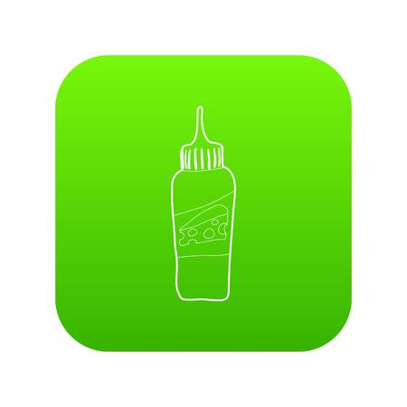 Bottle of cheese sauce icon green vector isolated on white background