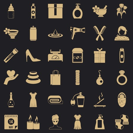 Woman present icons set, simple style