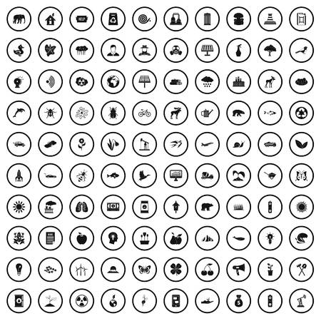 100 eco care icons set in simple style for any design vector illustration