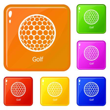 Golf ball icons set collection vector 6 color isolated on white background