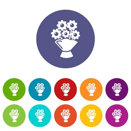 Wedding flower bucket icons color set vector for any web design on white background