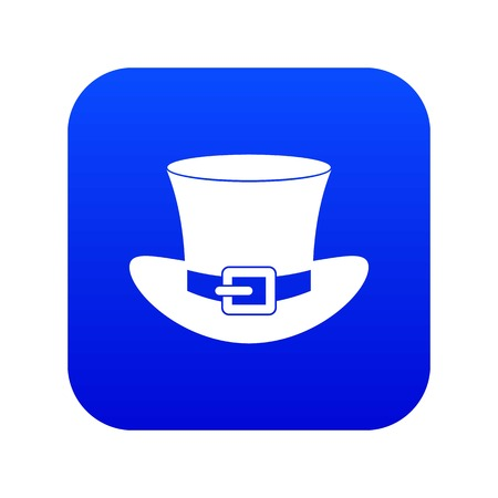 Top hat with buckle icon digital blue for any design isolated on white vector illustration