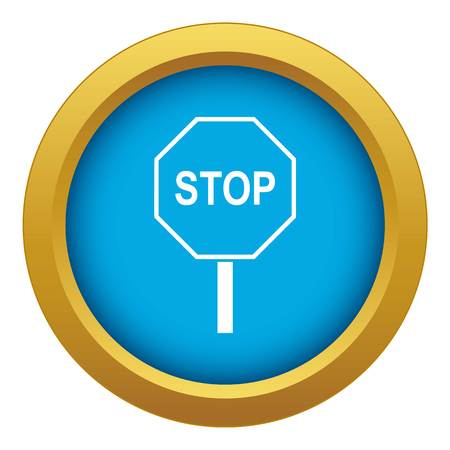 Stop road sign icon blue vector isolated on white background for any design