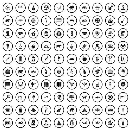 100 elephant icons set in simple style for any design vector illustration