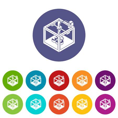 Three d printer icons color set vector for any web design on white background