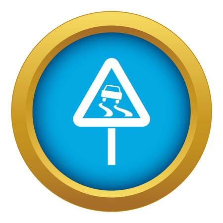 Slippery when wet road sign icon blue vector isolated Illustration