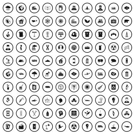 Conjunto de iconos de emisión 100, estilo simple