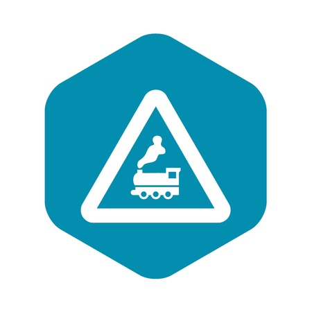 Warning sign railway crossing without barrier icon