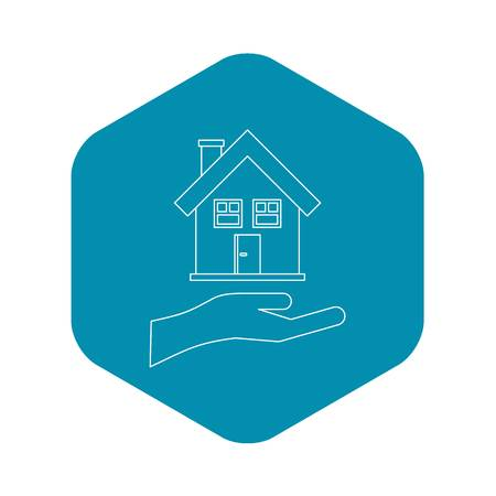 House and palm icon. Outline illustration of house and palm vector icon for web