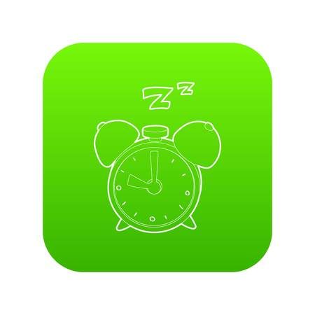 Alarm clock icon green vector isolated on white background