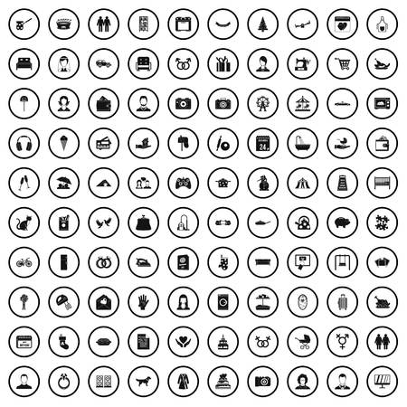 100 family icons set in simple style for any design vector illustration