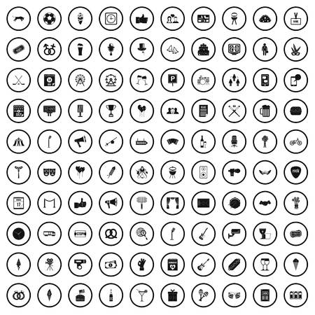 100 events icons set in simple style for any design vector illustration