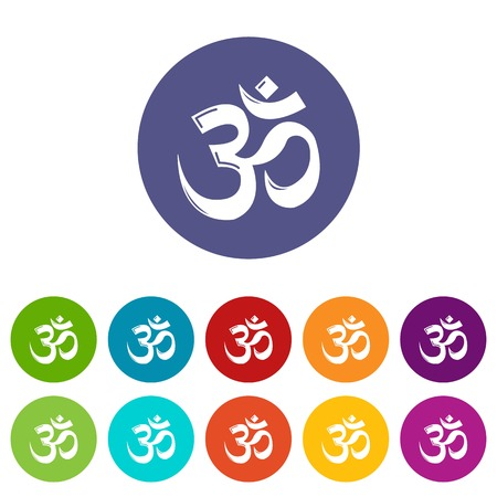 Om symbol hinduism icons set vector color