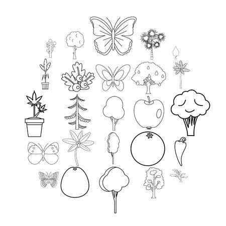 Diversity of flora icons set. Outline set of 25 diversity of flora vector icons for web isolated on white background Illustration