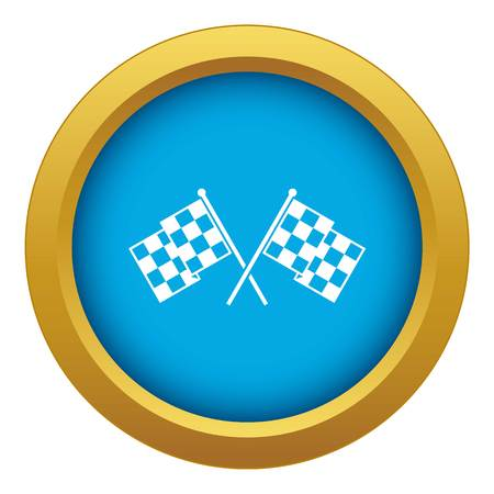 Checkered racing flags icon blue vector isolated on white background for any design
