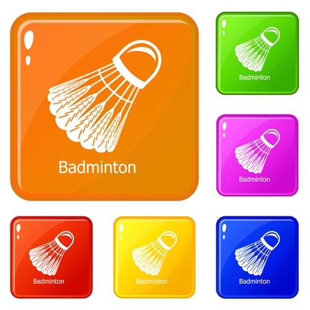 Badminton icons set collection vector 6 color isolated on white background