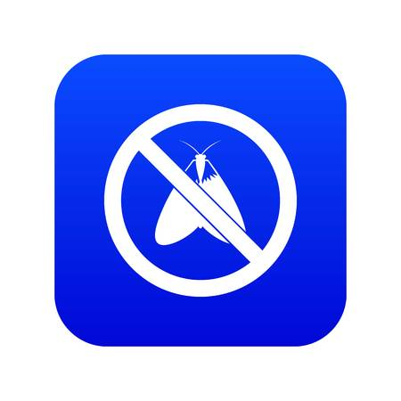 No moth sign icon digital blue for any design isolated on white vector illustration