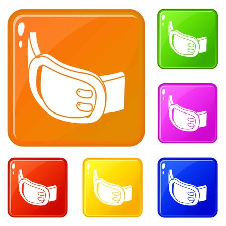 Double buckle belt icons set collection vector 6 color isolated on white background
