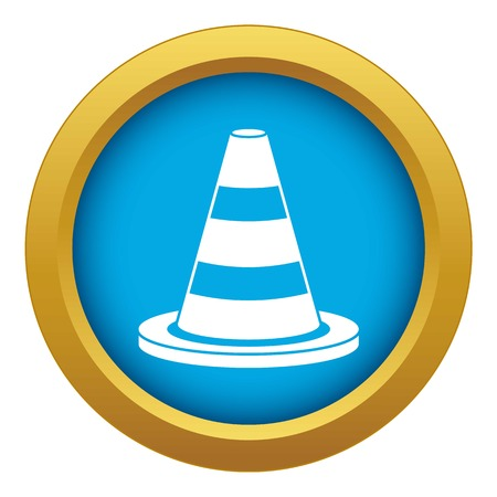 Traffic cone icon blue vector isolated on white background for any design