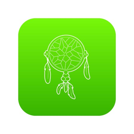 Dreamcatcher icon green vector isolated on white background