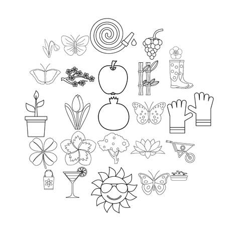 Flower icons set. Outline set of 25 flower vector icons for web isolated on white background  イラスト・ベクター素材