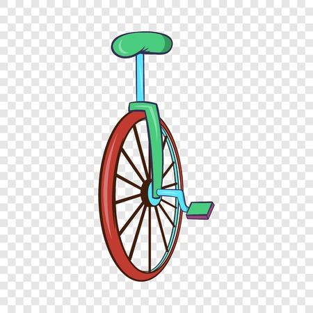 Unicycle or one wheel bicycle icon, cartoon style Illustration