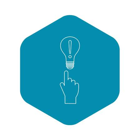 A finger pointer and light bulb with exclamation mark icon. Outline illustration of finger pointer and light bulb icon vector icon for web